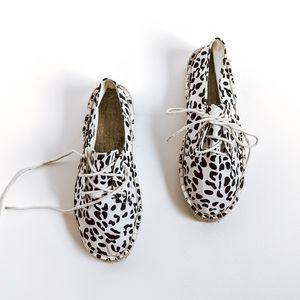 White Snow Leopard Lace Up Espadrille Shoes